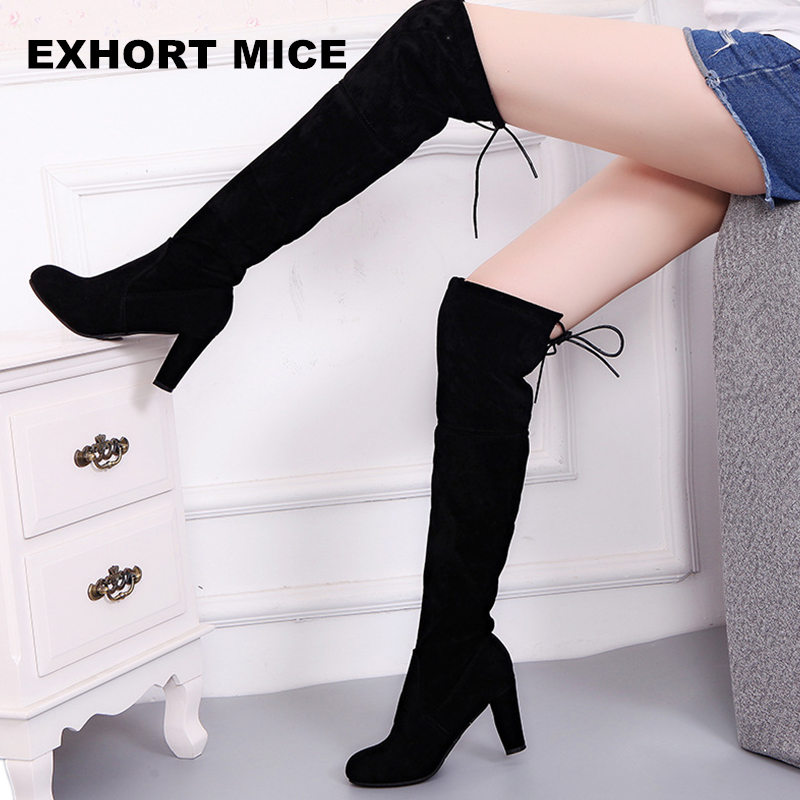 Faux Suede Slim Boots Sexy over the knee high women snow boots women's fashion winter thigh high boots shoes woman 2017 sexy thick bottom women s over the knee snow boots leather fashion ladies winter flats shoes woman thigh high long boots