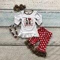 Хлопок день святого валентина бутик новорожденных девочек наряды детская одежда оборками костюм сердце любовь leopard топ подходящие аксессуары