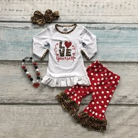 Cotton Valentine S Day Boutique Baby Girls Outfits Kids Clothing Ruffles Suit Heart Love Leopard Top