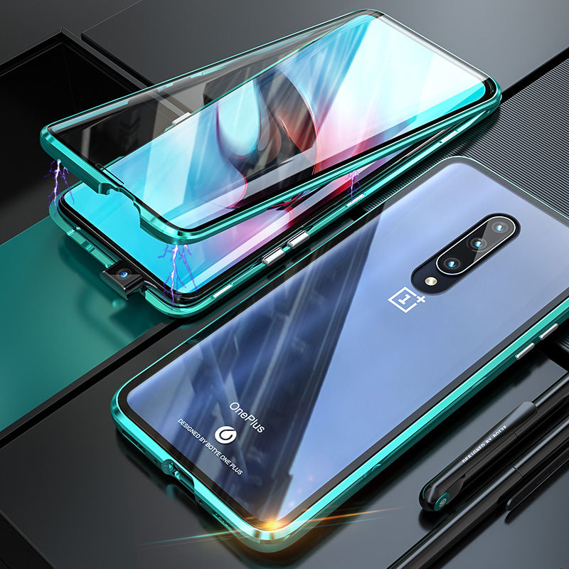 360 Full-Magnetic-Case Tempered-Glass-Cover Metal Bumper Front-Touch-Film Oneplus7 7pro