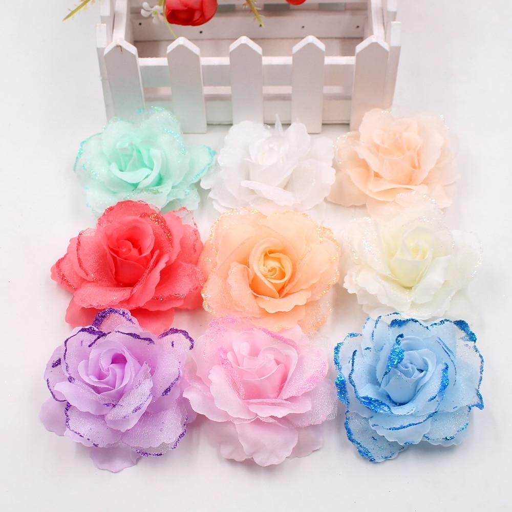 10pcs Artificial Flower Large Silk 2 Color Fire Rose Head For