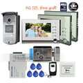 "FREE SHIPPING NEW 7"" color TFT Video Intercom Door Phone Recorder System 3 Monitors + Waterproof Rain Cover + 8G SD + E-Lock"