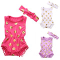 2016 Nova Chegada Roupas de Verão Bonito Meninas Polka Dot Macacão Sunsuit Bodysuit Do Bebê Recém-nascido Roupas Definir Roupas