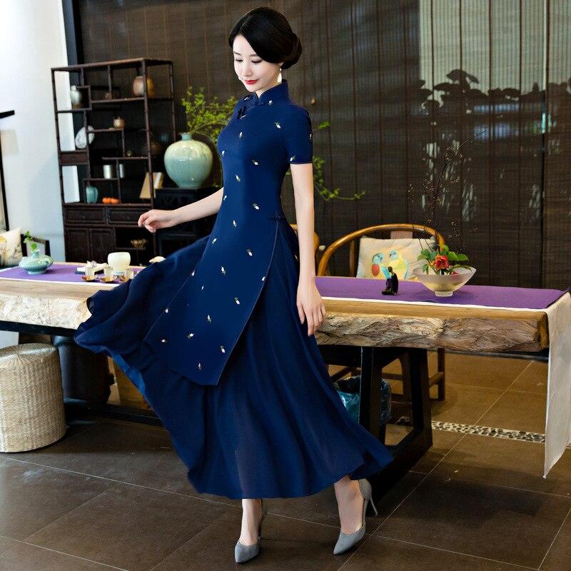 Blu Navy Cheongsam Lungo Tratto Nuovo Audrey Cheongsam EmbroideredDaily Vento Nazionale Retro Vestito Sottile Sottile Femminile Taglia S XXL-in Abiti da Abbigliamento da donna su  Gruppo 1