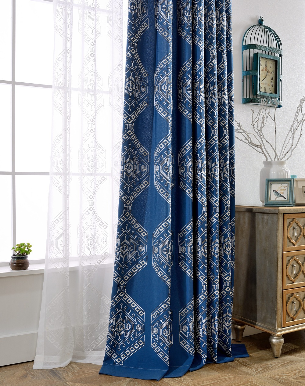 Buy map password embroidered curtains for living room blue green tulle curtain - Rideaux de salon ...