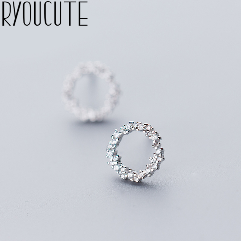 Real Silver Color  Round Circle Earrings For Women Wedding Jewelry Pendientes