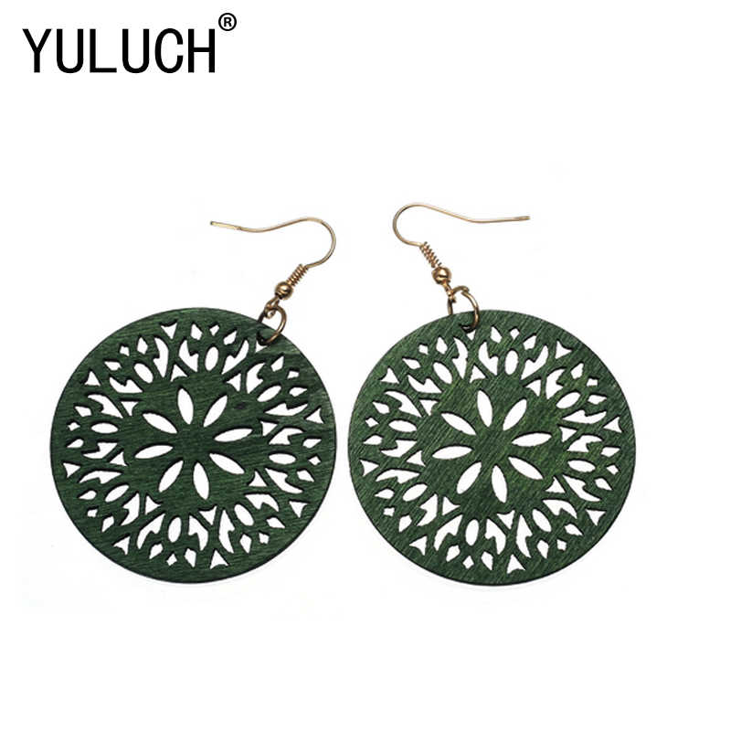 YULUCH Natural novelty wood hollow flower pendant jewelry for women earrings art party photo accessories Valentine's own gift