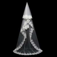 Higher Quality Lace Edge Appliqued with Sparkly Rhinstones One Layer 3 Meters Long Wedding Veils with Crystal Peineta Boda