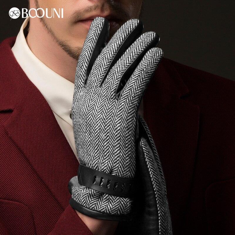 BOOUNI Pánské originální ovčí rukavice Rukavice na hřbetu Vlněné textilie termální zápěstí pevná zimní jízdní rukavice Doprava zdarma NM780