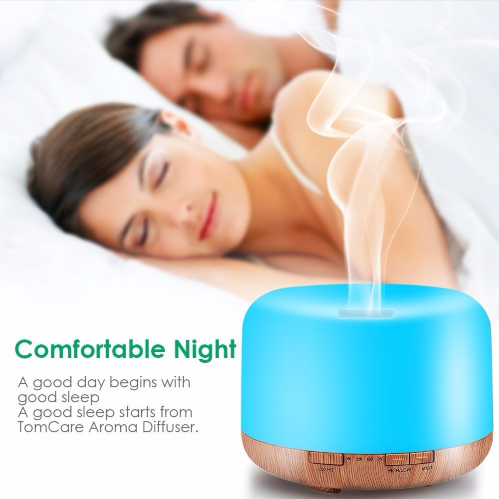 Air Humidifier Aromatherapy Essential Oil Aroma Diffuser Cool Mist Maker With Auto Shut-off Safety Switch 7 LED Lights 500ML ceramic 100ml aromatherapy essential oil diffuser portable ultrasonic cool mist aroma humidifier with led lights auto shut off