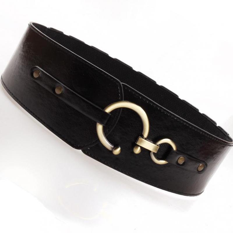 New Women Autumn Wide Belt Anti Scratch PU Elastic Belts With Hook Slim Decoration Waist Corset Leather Coat Belt