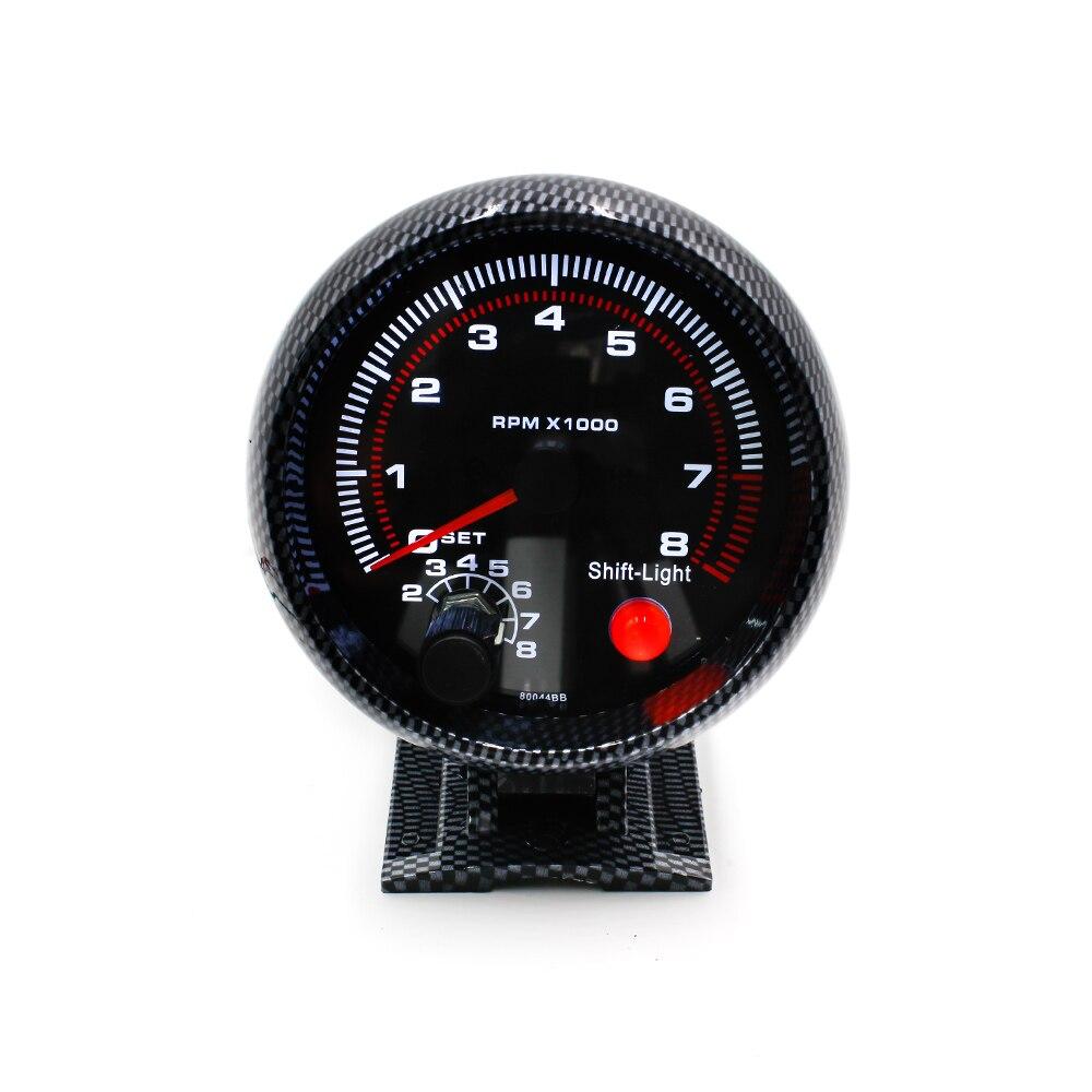 """CNSPEED 3.75 """"80mm Racing Car 0-8000 RPM Tachymètre en fibre de carbone Jauge mètre avec Shift Light Auto Tachometer Car Meter XS100144"""