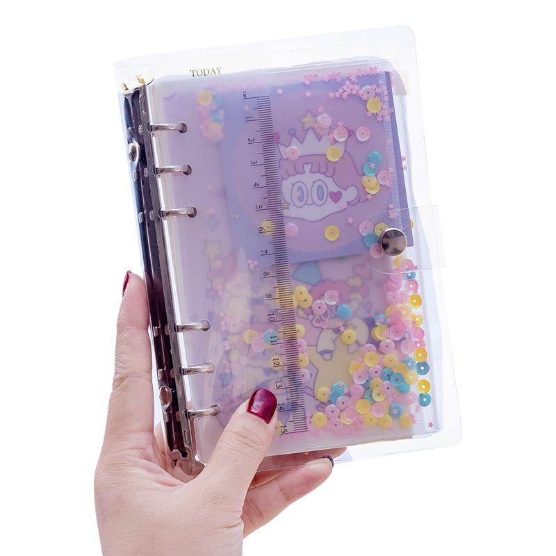 A5 Kawaii Cute Transparent Ring Binder Grid Notebook