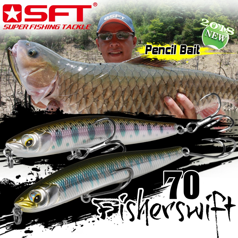 SFT 70mm 4.3g 10g Fishing Lure Floating Sinking Tackle Pencil soft lures Artificial Sea Bass Fish Bait fixed with treble hooks
