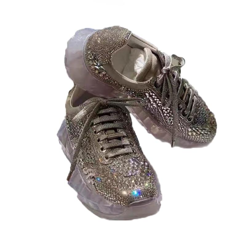 سيلا الحكام 2019 جديد السيدات كريستال بلينغ شفافة سميكة سوليد حذاء كاجوال جولة اصبع القدم الدانتيل يصل جلد طبيعي النساء الأحذية-في أحذية مطاطية نسائية من أحذية على  مجموعة 2