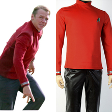 Star Trek Beyond Scotty Engineer Crewman Uniform Cosplay Costume Red Shirt And Free Badge Super Cool Hot Sale Boy Male