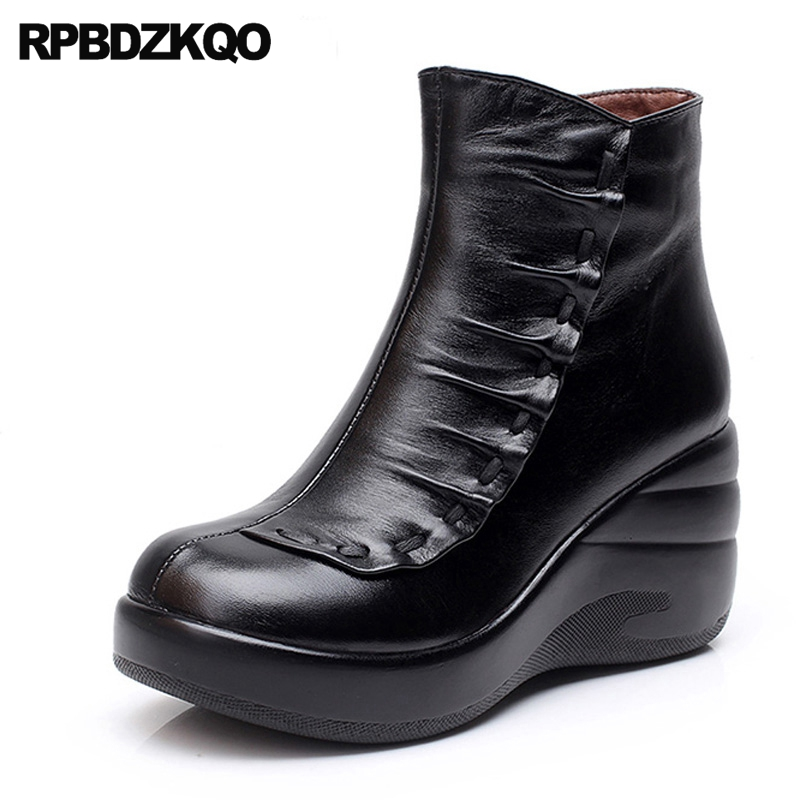 Platform Ankle Women Boots 2016 Round Toe Black 2017 Wedge Winter Shoes Booties Fashion Female Short Fur Ladies Chinese New fall low heel black side zip boots ankle metal booties short flat 2017 shoes ladies round toe female fashion new chinese