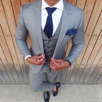 Classic high-quality men's suit gray lapel single-breasted men's business suits and prom dress (jacket + pants + vest) custom