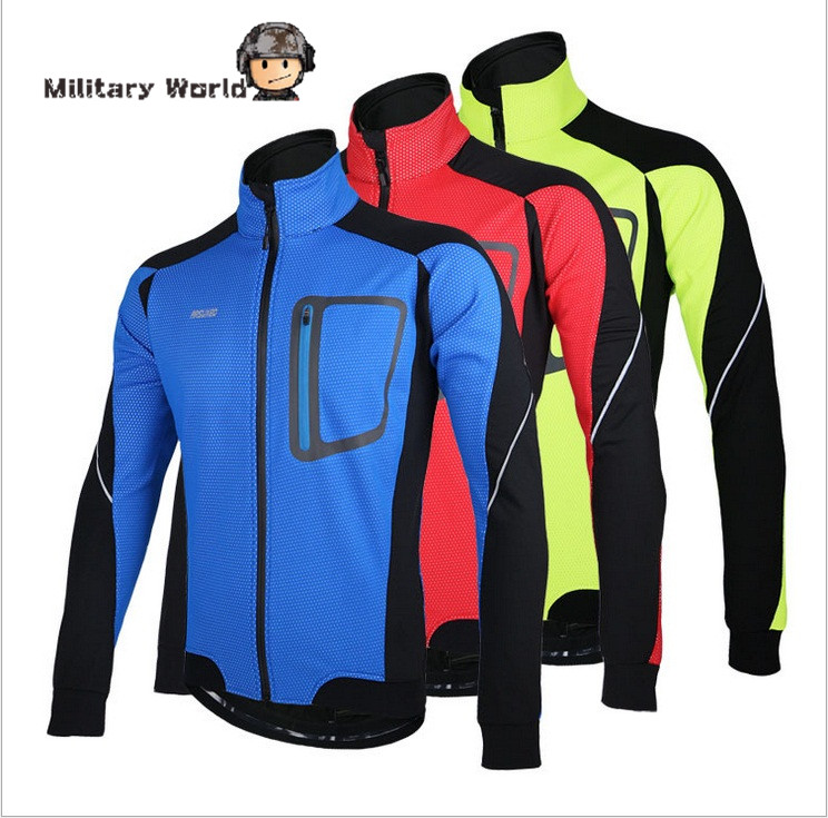 ФОТО Men's Outdoor Sport Reflective Jersey Long Sleeve Windproof Camping Cycling Jacket Waterproof Mountain Bike Bicycle Clothing