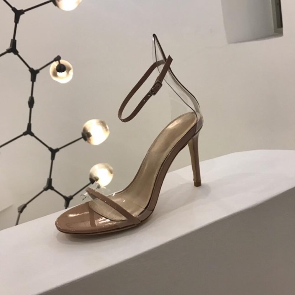 여성 샌들 정품 가죽 하이힐 새로운 패션 여성 펌프 뜨거운 판매 얇은 발 뒤꿈치 오픈 발가락 파티 드레스 여름 레이디 샌들-에서하이힐부터 신발 의  그룹 1