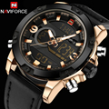 NAVIFORCE Men Watch Dual Time Zone Alarm LCD Sport Watch Mens Quartz Wristwatch Silicone Waterproof Dive Sports Digital Watches