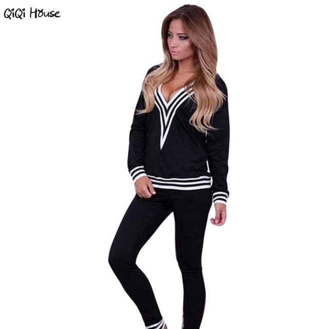 Sexy V-Neck Womens Tracksuit Set Loose Long Sleeve Casual Sweatshirts Fitness Sweatpants Pantacourt Femme#B11