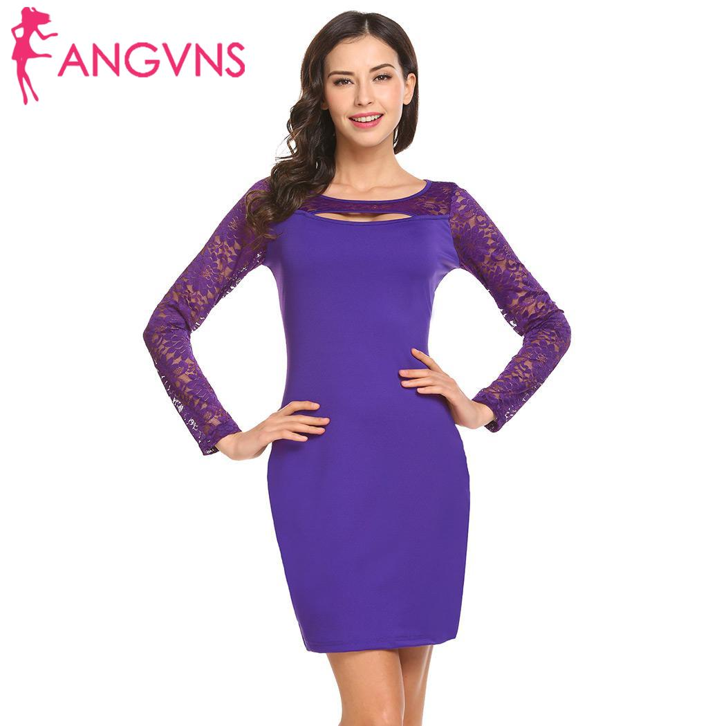 851ea6a9c8 ANGVNS Pencil Dress Autumn 2018 Women Dress Solid Cut Sexy Long Sleeve Women  Out Lace Patchwork Party Club Dress-in Dresses from Women s Clothing on ...