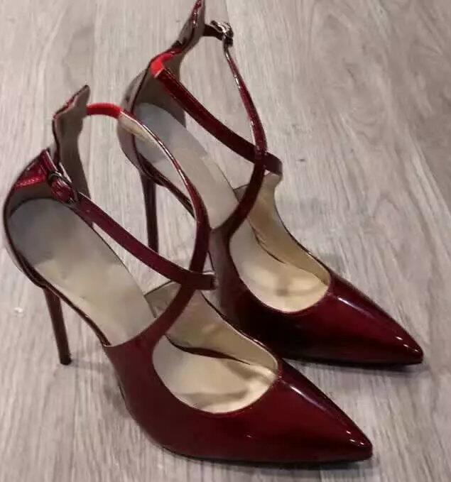 Elegant Burgundy Patent Leather Women Pointed Toe Pumps Cross Ankle Buckles  Ladies Sexy High Heels Female Fashion Stiletto-in Women s Pumps from Shoes  on ...