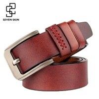 SEVEN SKIN Brand Leather Belt Men Male Genuine Leather Strap Luxury Pin Buckle Belts Vintage Designer