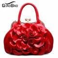 QIAOBAO 2017 мода женская сумка Лакированной Кожи сумка Цветок сумки плеча женщин сумки