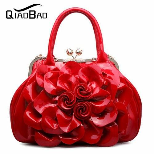 ФОТО QIAOBAO 2017 fashion women's messenger bag Patent Leather bag Flower bags shoulder womens handbags