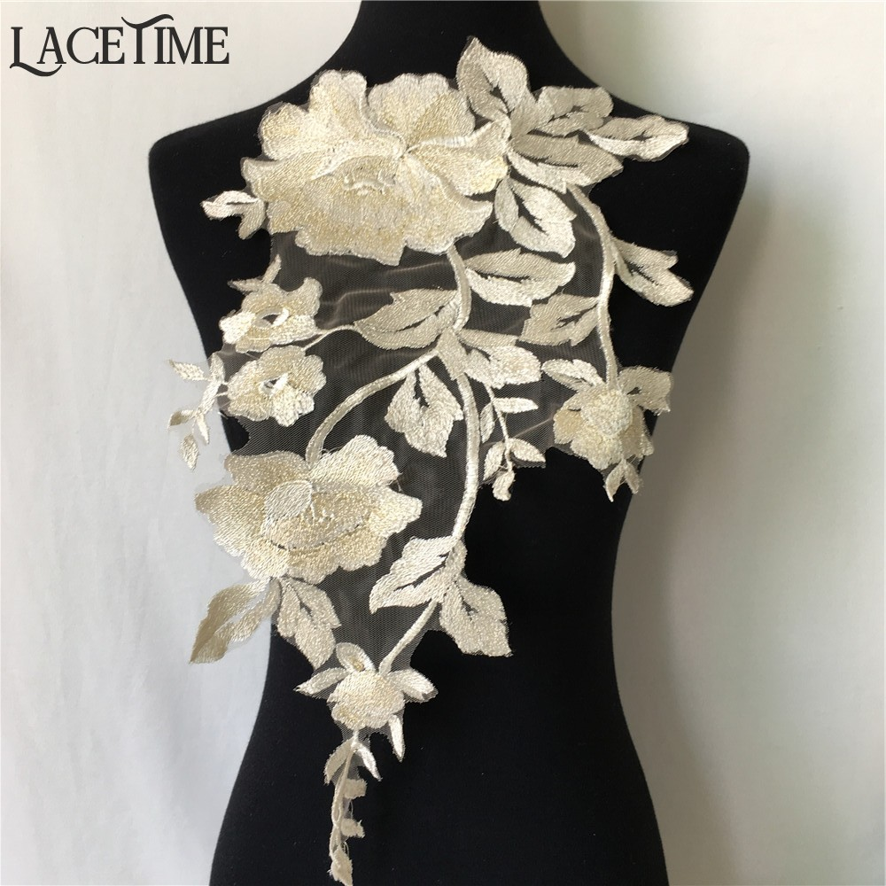 1 Piece Embroidered Flower Gold Lace Applique On Mesh DIY Sewing Trim  Wedding Dress Accessories 44cm 25cm-in Lace from Home   Garden on  Aliexpress.com ... 196aba429a22