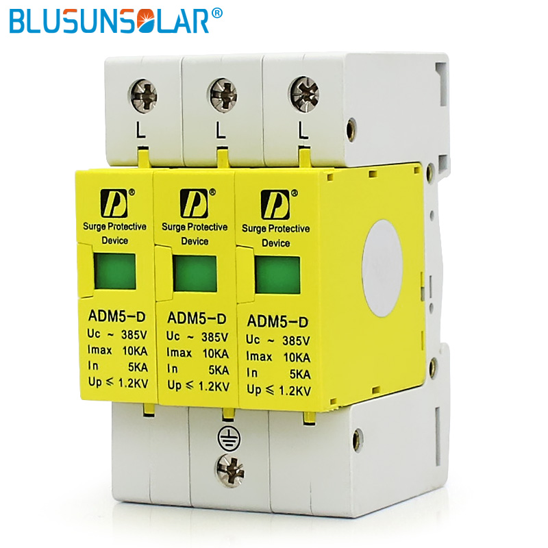 5 pieces  lot SPD 3P 5KA~10KA 385V AC Class D Household Surge Protector Protection Device Low-voltage Arrester