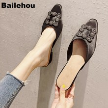 New Women Slippers Low Heel Shoes Slip On Mules Brand Crystal Buckle Sandals Outdoor Slipper Pointed Toe Chaussure Femme