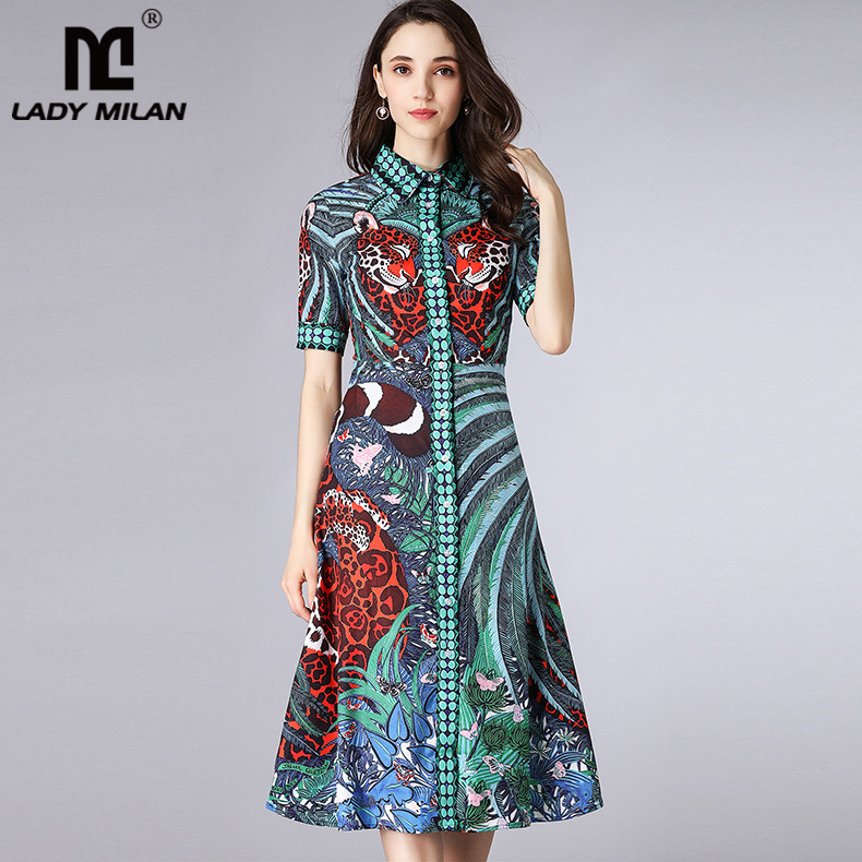 New Arrival 2018 Womens Turn Down Collar Short Sleeves Printed Dobby High Street Fashion Dresses