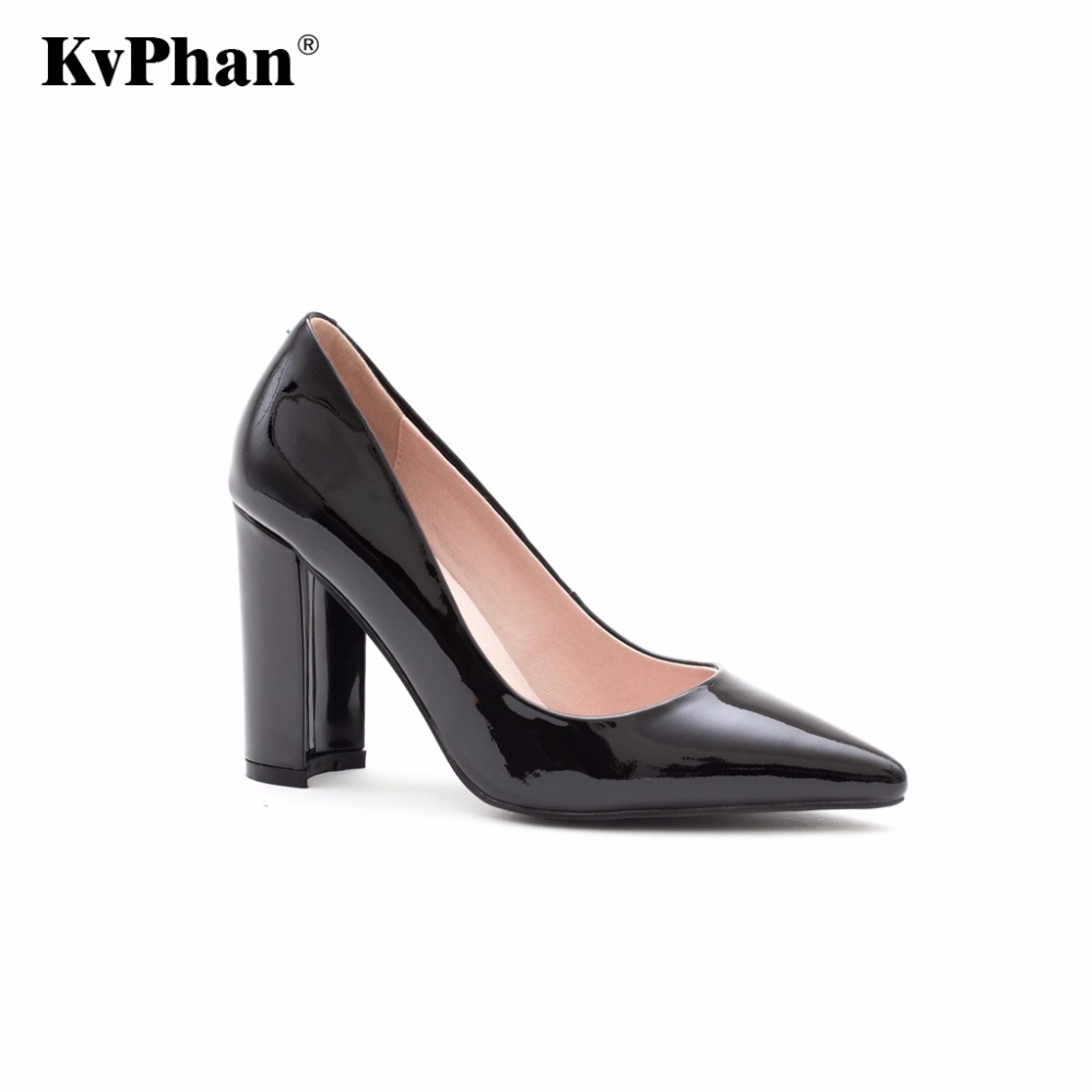 KvPhan 2018 Women Thick heel Genuine Leather Shoes Ladies High Heels Black Pointed Toe Pumps High quality Classic Cow Skin Shoes leather pumps women 2017 high heels shoes woman genuine leather closed toe thick heel fretwork handmade cool women s shoes