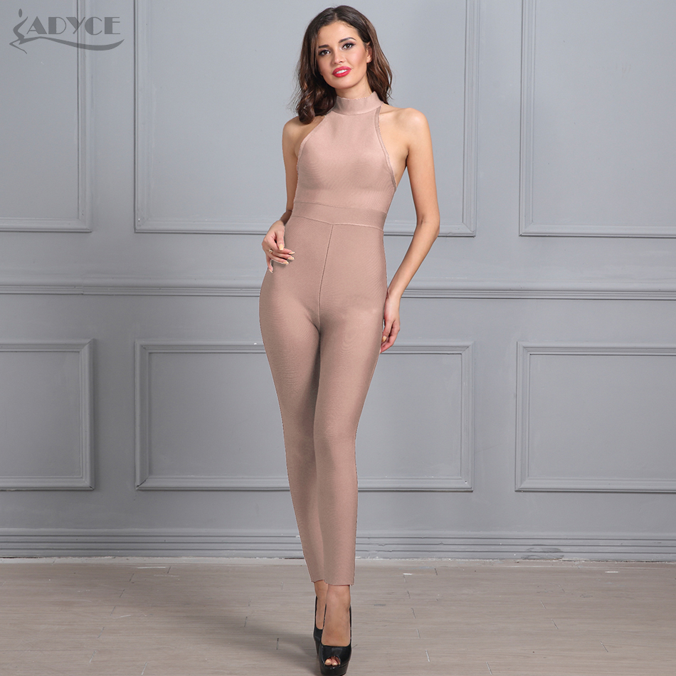 Adyce 2019 New Summer Women Rompers Bodysuit Nude Sleeveless Back Zipper Full Length Celebrity Party Bandage Jumpsuit Wholesale