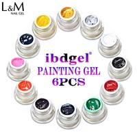 6 Pcs ibdgel Painting Gel Nail Polish Uv Led Lamp Gel polish 8ml soak off nail gel for nail art