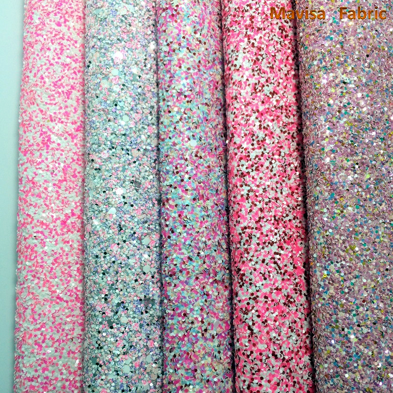 21X29CM A4 Chunky Glitter Synthetic Leather Fabric for DIY Craft Handbag Shoes