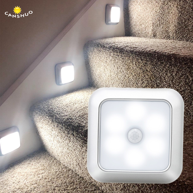 6LED PIR Motion Sensor Light Battery Led Nightlight For Closet Wardrobe Stair Lighting Hallway Silver Shell Night Lamp For Home