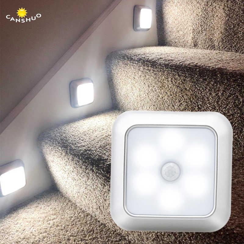 Diody led PIR lampa z czujnikiem ruchu bateria oświetlenie nocne led do szafa na ubrania oświetlenie schodów przedpokój srebrna muszelka lampka nocna do domu