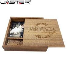 JASTER грецкий орех фотоальбом деревянные usb + коробка карта памяти Флешка 8 Гб 16 Гб U диск фотография свадебный подарок (1 шт бесплатный логотип)