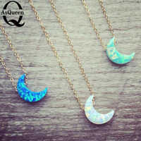 8 11MM Moon Shape Gem 2016 Fashion Op19 Synthetic Opal Necklaces Gold Plated Chain For Women