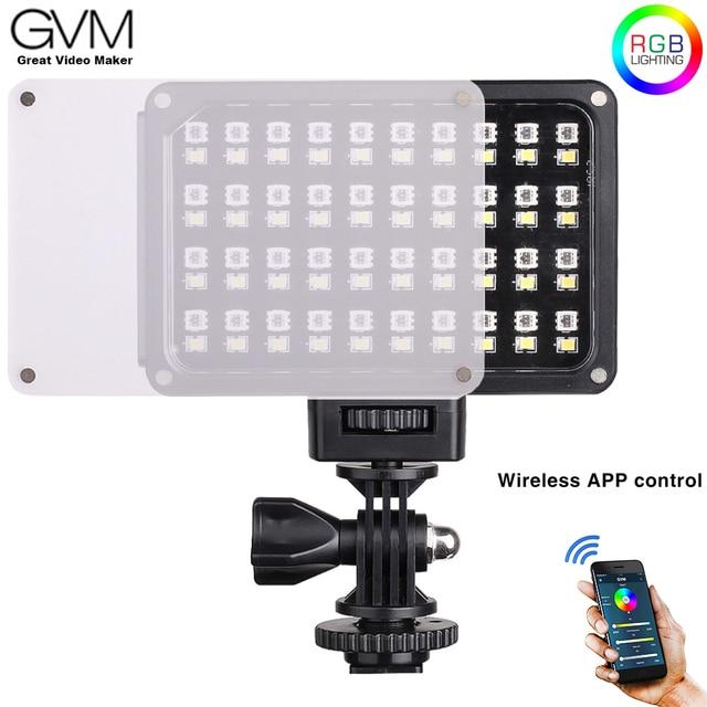 Портативный карманный светодиодный видеосветильник GVM, RGB, полноцветный, CRI 95 +, двухцветный, 2000 5600K, встроенный аккумулятор, для Sony Canon