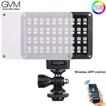 Gvm RGB 7S portátil bolso rgb cor cheia conduziu a luz de vídeo cri 95 + bicolor 2000 5600 k app controle built in bateria para sony canon
