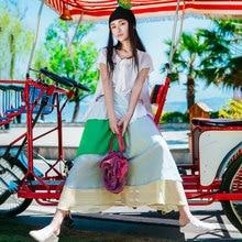 LYNETTE'S CHINOISERIE National trend bust skirt 2017 summer new arrival a patchwork chiffon skirt