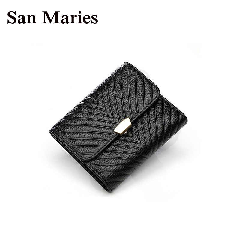 San Maries Small Wallet Women Luxury Brand Famous Mini Women Wallets Purses Female Short Coin Purse Credit Card Holder