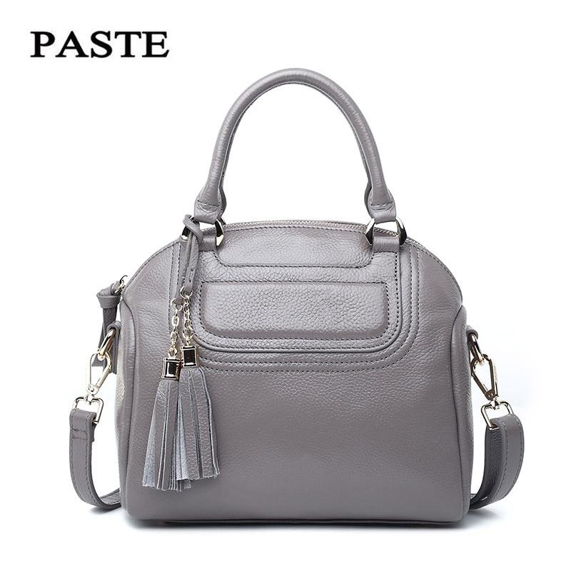 PASTE Sac A Main Femme Fantaisie Vintage Genuine Leather Bags for Women Bag Luxury Brand Tassels Shell Shoulder Strap Handbags