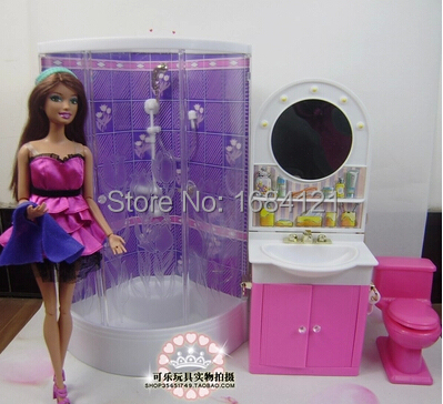New arrival Christmas gift play house for children bathroom set furniture for barbie doll,accessories for barbie,girls gifts free shipping new arrival christmas birthday gift children play set doll furniture living room tv accessories for barbie doll