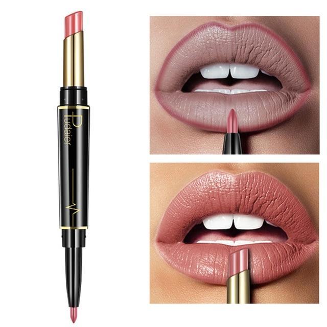 Nuevo lápiz labial mate pudaier de larga duración impermeable de doble extremo marrón Color desnudo delineador de labios maquillaje cosméticos